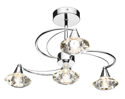 Luther Light Semi Flush Ceiling Light with Crystal Glass