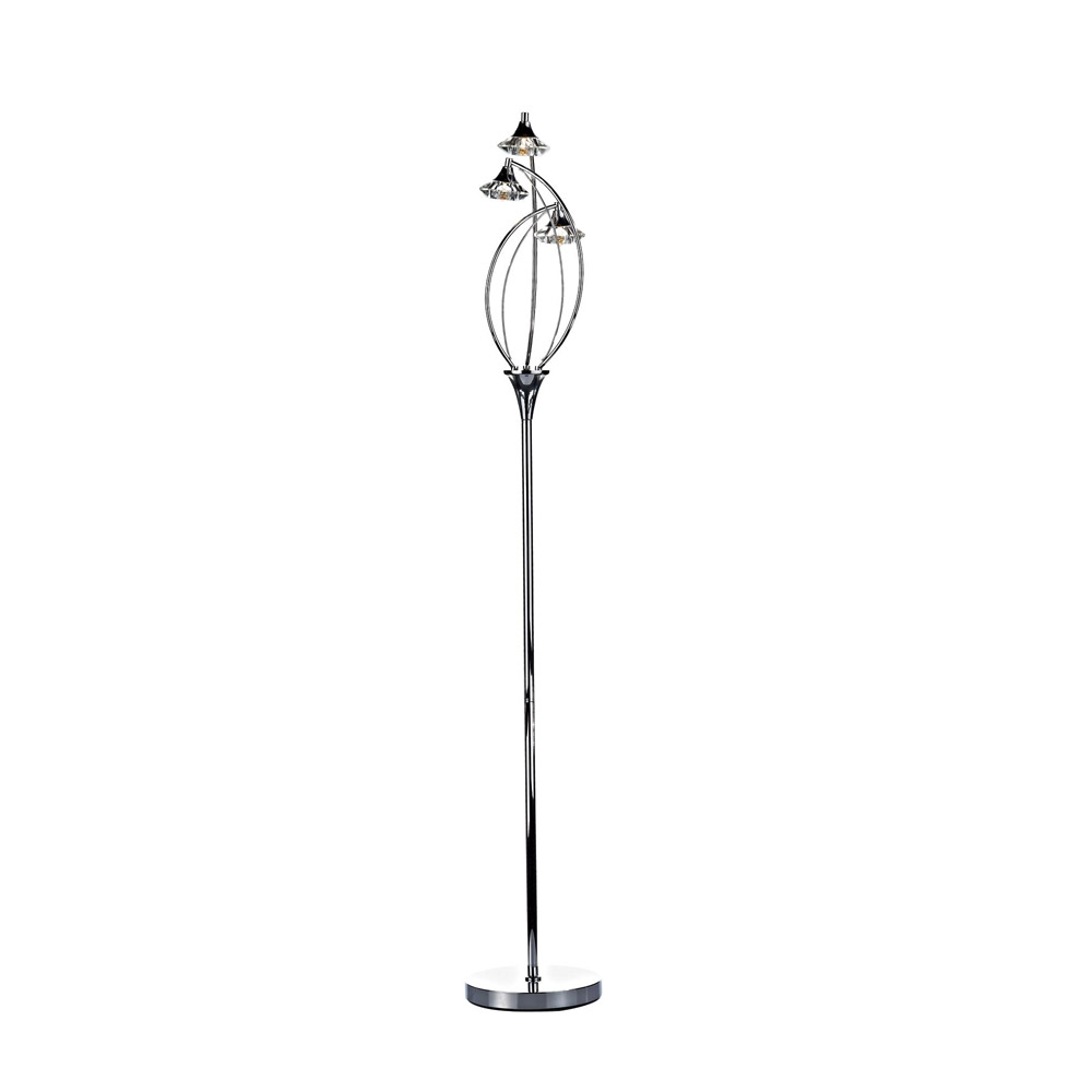 Dar Luther 3 Light Crystal Floor Lamp